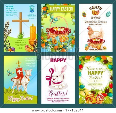Easter holidays greeting card set. Easter egg hunt rabbit bunny, decorated Easter eggs in basket, spring flower wreath, chicken, lamb of God, cross, willow twigs, candle, butterfly banner design
