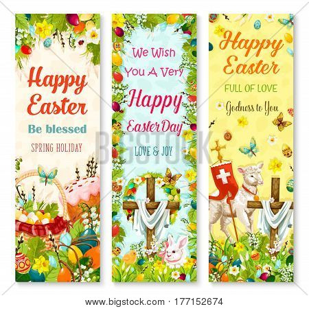 Easter holiday symbols greeting banner set. Easter egg hidden on grass meadow with rabbit bunny, spring flower, egg hunt basket, Easter cake, chicken, lamb of God and crucifix cross with floral wreath
