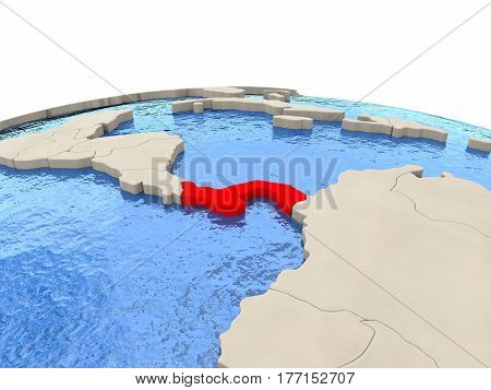 Panama On Globe With Watery Seas