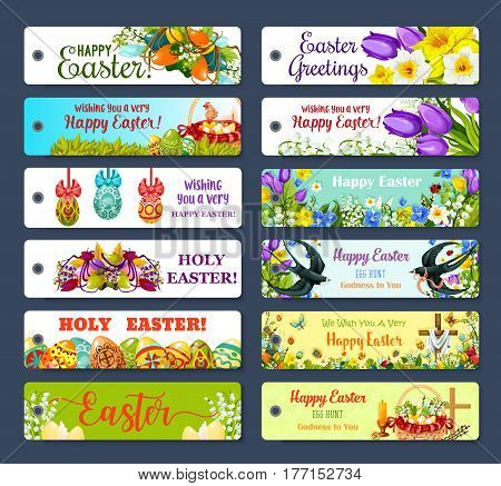 Easter greeting tag set. Patterned Easter egg, flower of tulip, narcissus and lily, egg hunt basket, chicken, spring floral wreath, Easter cross, swallow bird, butterfly and candle gift label design
