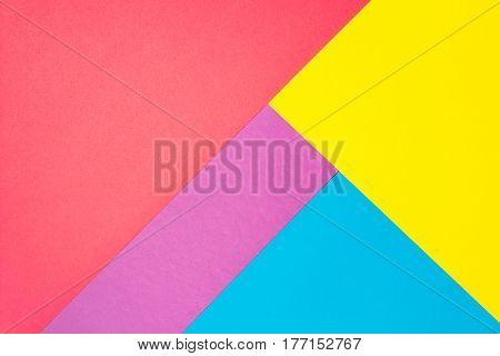 Composition with purple, blue, pink and yellow sheets