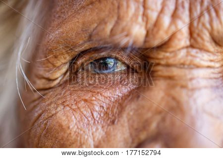 Age Vision and old people concept - Close up of senior asian woman face and eye