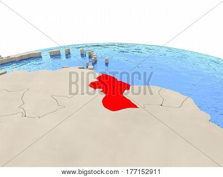 Guyana On Globe With Watery Seas
