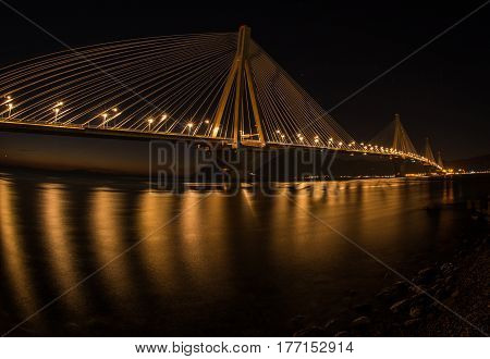 View to Rio-Antirio bridge at night in  Greece