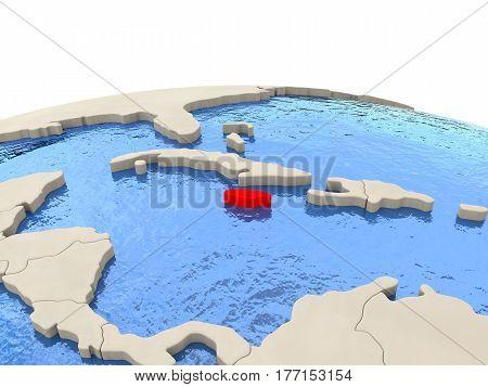 Jamaica On Globe With Watery Seas