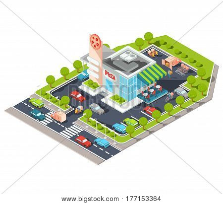 Vector isometric illustration of a modern Italian fast food restaurant with parking. Isometric pizzeria with a giant pizza sign, Italian cuisine