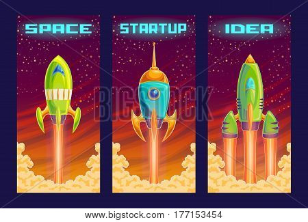 Vector cartoon illustration of the startup concept of business project, the launch of a new investment project. Illustration of a take-off rocket