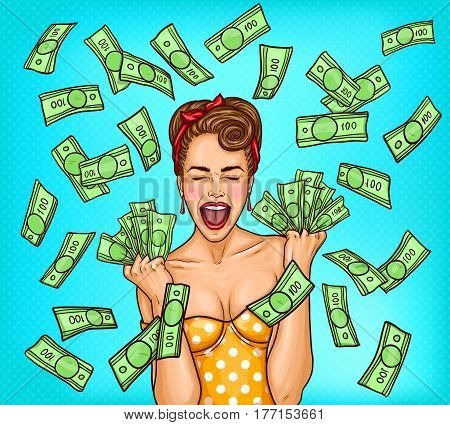 Vector pop art illustration of an enthusiastic young sexy girl standing in the rain out of cash bills. Advertising poster for the announcement of discounts and sales in the style of pop art