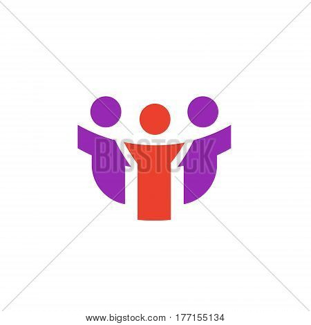 Vector icon or illustration showing people communication as three friends company in material design style