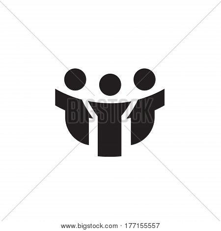 Vector icon or illustration showing people communication as three friends company in one color