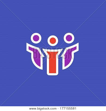 Vector icon or illustration showing people communication as three friends company in outline style