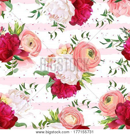 Burgundy red and white peonies, ranunculus, rose seamless vector pattern. Pink striped elegant print with luxury bright flowers and speckles.