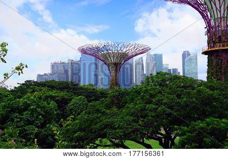 Singapore, Singapore - February 12, 2017: Gardens by the Bay near Marina Bay Sands on sunny day in Singapore.