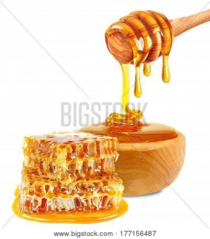 honey in a bowl and honeycomb isolated on white background