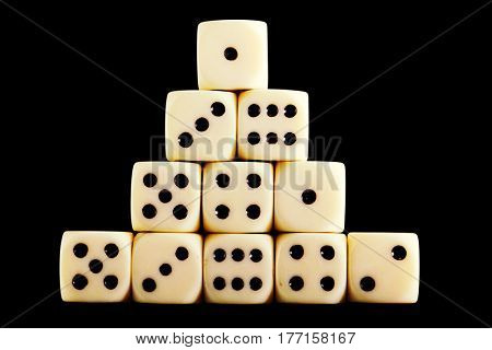White dice isolated on black background