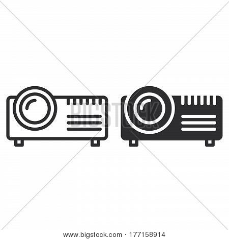 Digital projector line and solid icon outline and filled vector sign linear and full pictogram isolated on white. Symbol logo illustration
