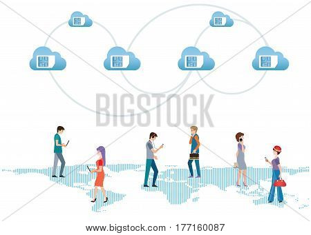 SIM card in the blue cloud icon flat design vector illustration.