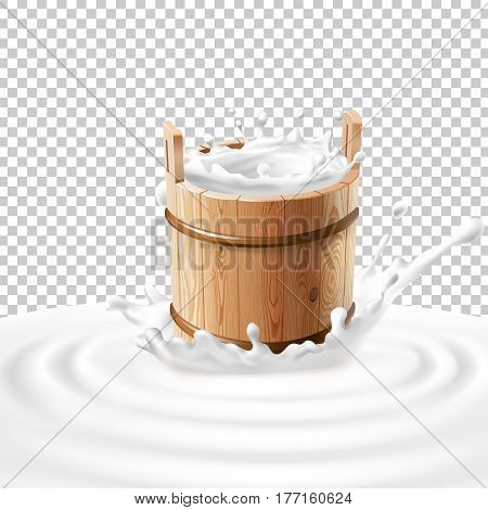 Vector illustration of a wooden bucket with milk standing in the center of a dairy splash. Template advertising poster in a realistic style for natural high-quality milk