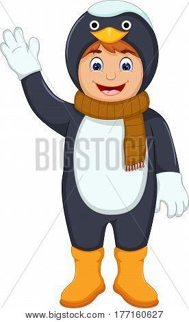 cute little boy cartoon with penguin costume