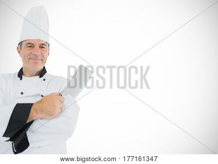 Digital composite of Chef with knife against white background
