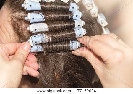 locks of hair in a beauty salon .