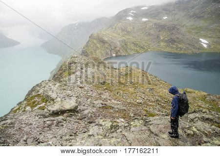 Tourist In Norwat Hiking Path
