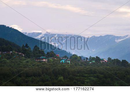 Cloudy landscape view of Himachal Pradesh at Manali, India