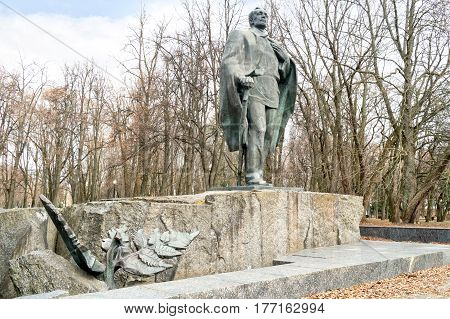 MINSK BELORUSSIA - March 11.2017: Monument to the famous Belarusian poet Yanka Kupala
