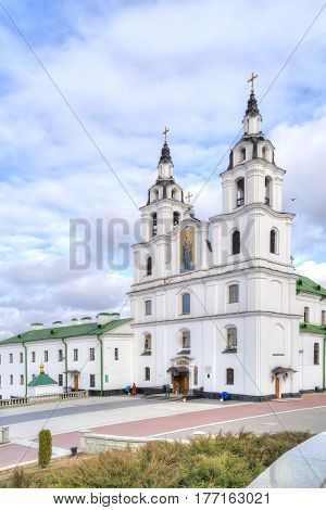 MINSK BELORUSSIA - March 11.2017: Cathedral of the Descent of the Holy Spirit the main temple of the Belarusian exarchate of the Russian Orthodox Church