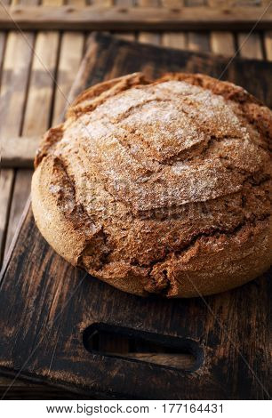 Bread of homemade baked with bran. In the rustic style