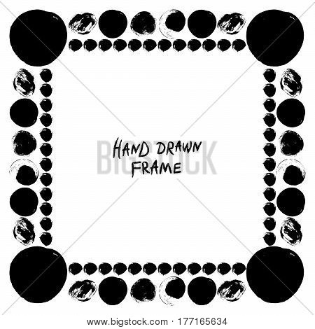 Abstract hand drawn frame. Square vector border with hand drawn circle brush strokes.