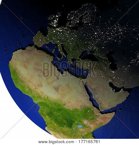 Emea Region At Night On Model Of Earth With Embossed Land