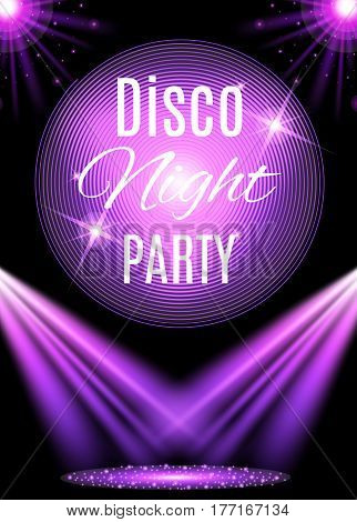 Disco party poster template with shining element. Vector illustration