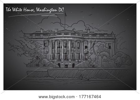Front view of the White House and the lawn. Cityscape, urban hand drawing. Sketch on a black nightsky background with stars. Editable EPS10 vector illustration.
