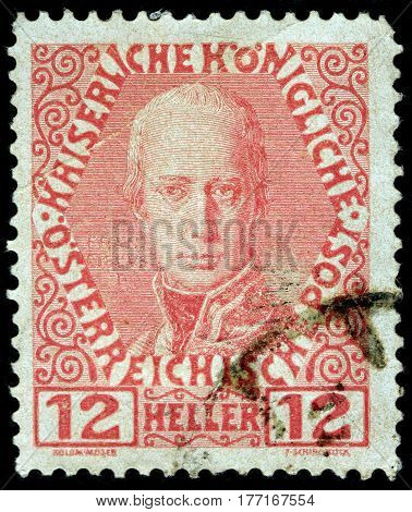 LUGA RUSSIA - FEBRUARY 7 2017: A stamp printed by AUSTRIA shows image portrait of Austrian Emporer Franz I (1792-1835) circa 1908
