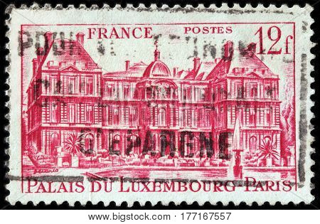 LUGA RUSSIA - FEBRUARY 7 2017: A stamp printed by FRANCE shows view of The Luxembourg Palace in Paris (Palais Du Luxembourg) the Seat of the French Senate circa 1946.
