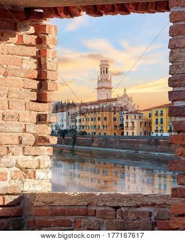 historical quarter of Verona, Duomo Cathedral at sunrise