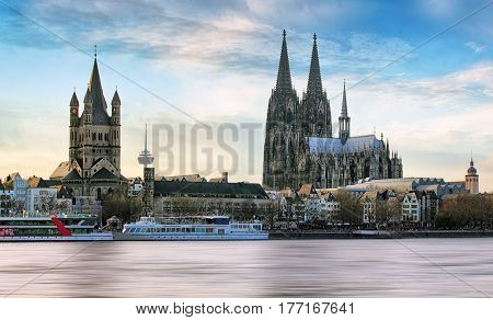 Cologne over the Rhine River with cruise ship in Cologne Germany.