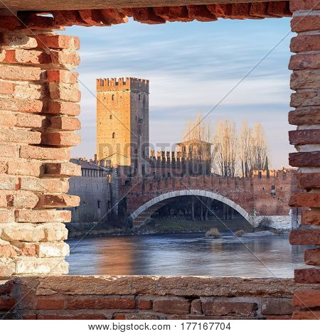 historical quarter of Verona, Castel Vecchio bridge, Italy