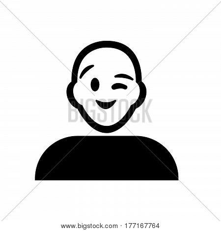 a Flat black wink emoticon icon vector