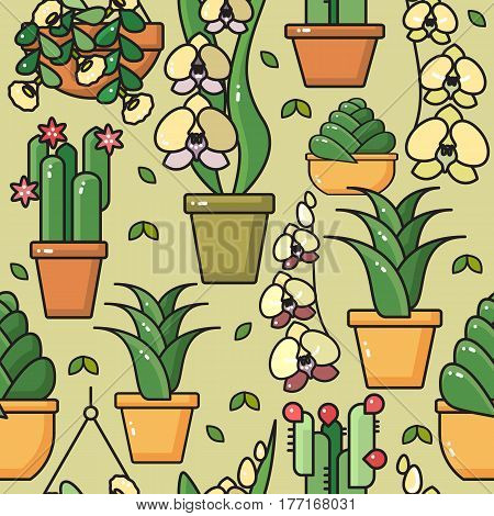Vector seamless pattern of hand drawn line art house plants in ceramic pots on taupe. Flowers for interior and garden backgrounds, floral design. Orchid, cactus, succulent