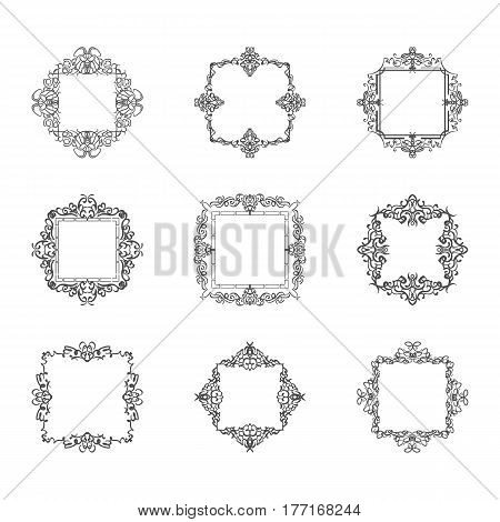 Huge rosette wicker border collection. Vintage vector symbol for decoration text, certificate and page decor in advertising. Business flourish sign and classic logo. Motifs frames and ornate elements.