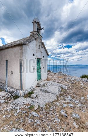 Church In Croatian Moutains In Podstrana Near Split, Dalmatia, Croatia