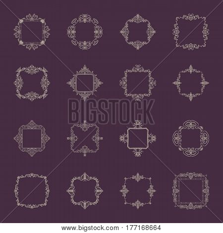 A huge rosette wicker border collection in vector. Vintage symbol for decoration of text, certificate and page decor in advertising. Business flourish signs and classic logo. Motifs frames and ornate elements.