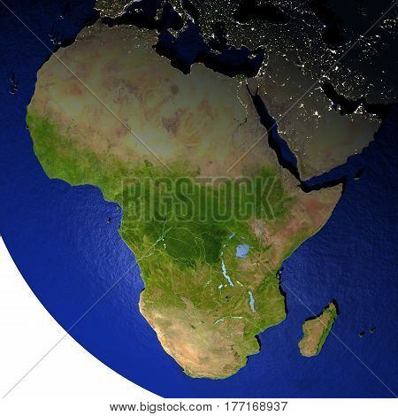 Africa At Night On Model Of Earth With Embossed Land