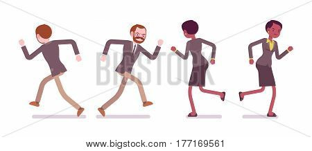 Set of young male and female teacher in a strict formal wear, running pose, escaping from work, having no motivation, bad relationships, full length, front, rear view, isolated, white background