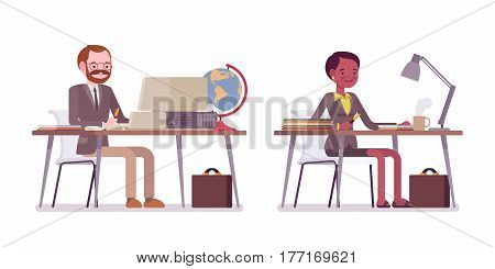 Set of young male and female teacher in a strict formal wear, sitting at the desk and working with laptop, preparing lessons, high professional qualification, full length, isolated on white background