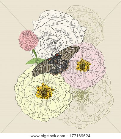 hand drawing butterfly and flowers. Hand drawn illustration