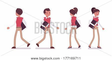 Set of young male and female office worker in smart casual wear, walking pose, performing day-to-day activitie and office duties, full length, front and rear view, isolated on white background