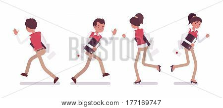 Set of young unhappy male and female office worker in smart casual wear, running pose, escaping from work, frustrated with deadline, full length, front and rear view, isolated on white background